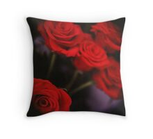 Analog photo of bunch bouquet of red roses Throw Pillow