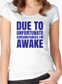 I'm Awake - Navy Text Women's Fitted Scoop T-Shirt