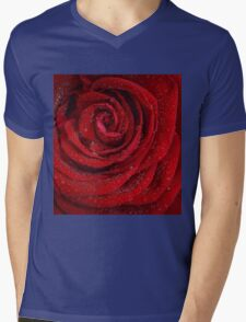 Red Rose with Waterdrops Mens V-Neck T-Shirt