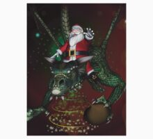Funny Santa Claus with dragon Kids Tee