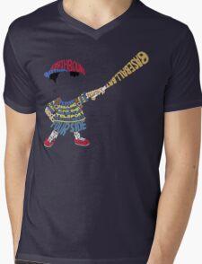 Ness Typography Mens V-Neck T-Shirt