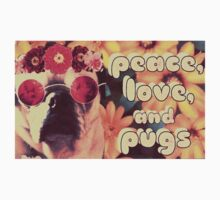 Flowered Hippie Pug Kids Tee