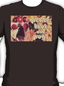 Flowered Hippie Pug T-Shirt