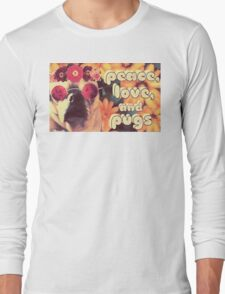 Flowered Hippie Pug Long Sleeve T-Shirt