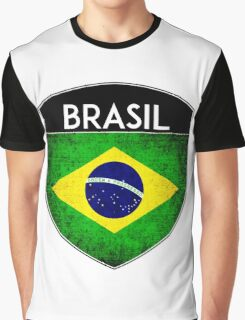 BRAZIL BRASIL FLAG CREST BADGE EMBLEM GRUNGE 2 Graphic T-Shirt