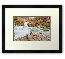 frozen waterfall in forest Framed Print