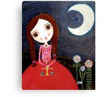 Mixed Media Girl Zodiac Libra Canvas Print