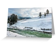river through the village in winter Greeting Card