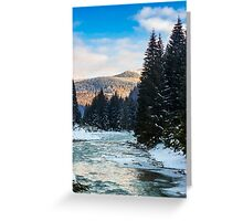 frozen river in forest Greeting Card