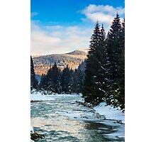 frozen river in forest Photographic Print