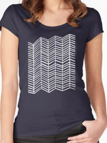 Herringbone – Navy & White Women's Fitted Scoop T-Shirt