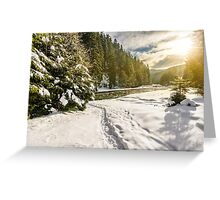 frozen river in forest at sunset Greeting Card