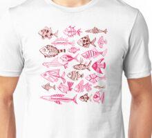 Maroon & Pink Inked Fish Unisex T-Shirt