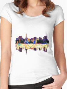 Paris France, City Skyline Women's Fitted Scoop T-Shirt