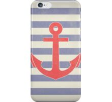 Vintage Marine Stripes & Red Anchor iPhone Case/Skin