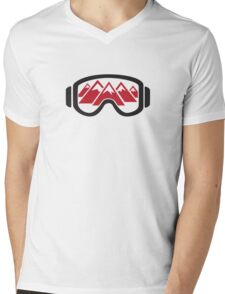 Reflected Mountains in Ski Goggles Mens V-Neck T-Shirt