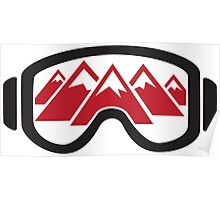 Reflected Mountains in Ski Goggles Poster