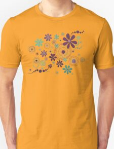 GARDEN PARTY ART - TEAL & PURPLE FLOWERS #1 Unisex T-Shirt