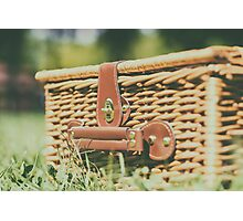 Picnic Basket Hamper With Leather Handle In Green Grass Photographic Print