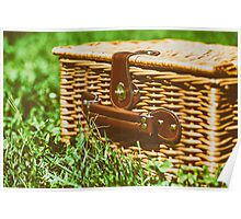 Picnic Basket Hamper With Leather Handle In Green Grass Poster