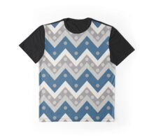 Chevrons and Dots, Grey and Cadet Blue Graphic T-Shirt