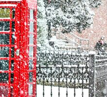 Phone Booth in Winter Sticker