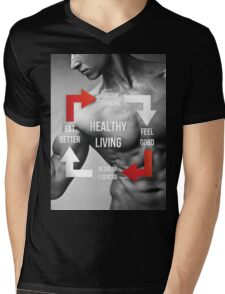 Healthy Living Infographic Mens V-Neck T-Shirt