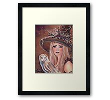 Willow woodland witch with owl by Renee L lavoie Framed Print