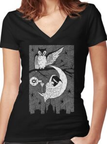 Thirsty Owl by Allie Hartley  Women's Fitted V-Neck T-Shirt