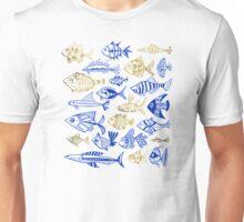 Gold & Navy Inked Fish Unisex T-Shirt