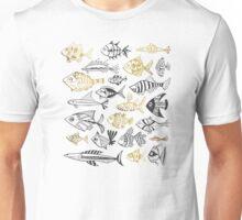 Grey & Gold Inked Fish Unisex T-Shirt