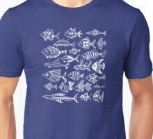 White Inked Fish on Navy Unisex T-Shirt