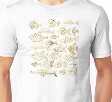 Gold Inked Fish Unisex T-Shirt