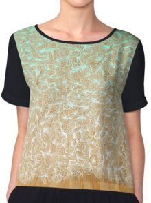 Abstract Pattern on Wood Chiffon Top