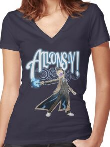 Allons-Y! - Brown Suit Women's Fitted V-Neck T-Shirt