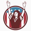 Female American Football Fan Circle Retro by patrimonio
