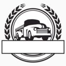 Vintage Pick Up Truck Black and White Retro by patrimonio
