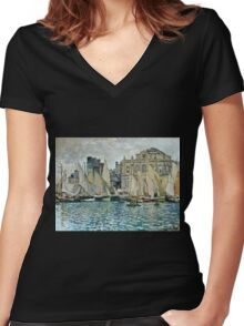 Claude Monet - View Of Le Havre  Women's Fitted V-Neck T-Shirt