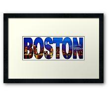 Boston Skyline at Night Lettering Framed Print