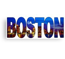 Boston Skyline at Night Lettering Canvas Print