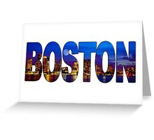 Boston Skyline at Night Lettering Greeting Card