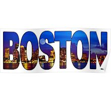 Boston Skyline at Night Lettering Poster