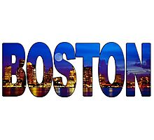Boston Skyline at Night Lettering Photographic Print