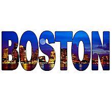 Boston Skyline at Night Lettering Photographic Print