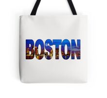 Boston Skyline at Night Lettering Tote Bag