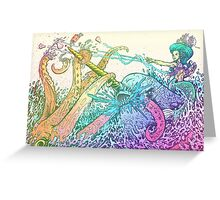 NARWHAL VS GIANT SQUID Greeting Card