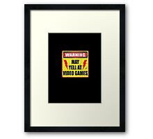 Gamer Warning Framed Print