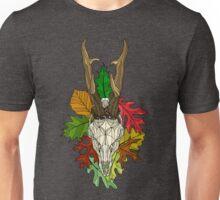 Roe Deer Skull On Fall Leaves Unisex T-Shirt