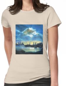 Cloud over Docklands ~ oil painting Womens Fitted T-Shirt