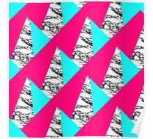 Modern Pink Teal Black White Marble Geometric Poster